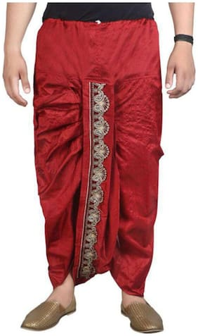 Fanzi Blended Regular dhoti Dhoti - Red