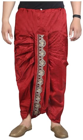 Fanzi Blended Solid Regular dhoti Dhoti - Red