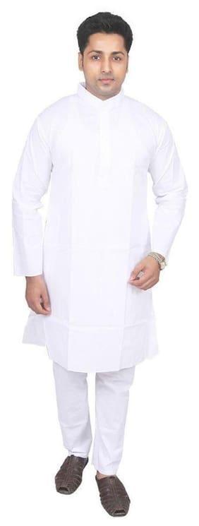 Fanzi Men Regular Fit Cotton Full Sleeves Solid Kurta Pyjama - White