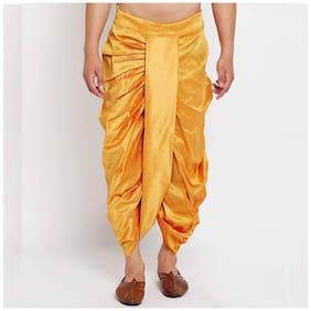 FANZI Yellow Silk Dhoti for Men