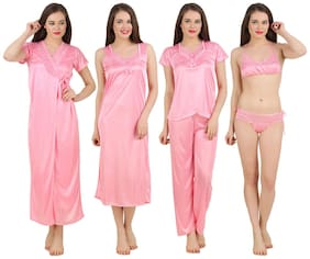 Fasense Pink Satin Set Of 4 Nightwear
