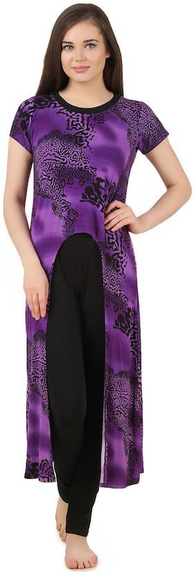 Fasense Purple Polyester Nightwear