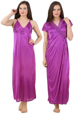 Fasense Purple Satin Set Of 2 Nightwear