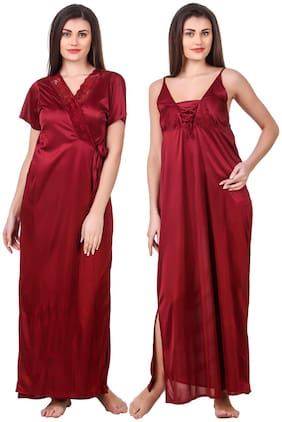 Fasense Maroon Nighty with Robe