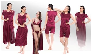 Fasense Set of Wine Nighty & Wrap Gown with Top n Shorts and a pair of Bra and Thong (6 pcs)