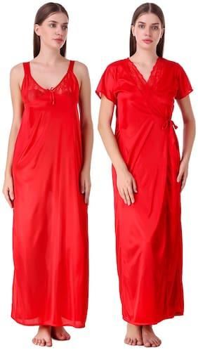 Fasense Women Satin Solid Top and Pyjama Set - Red