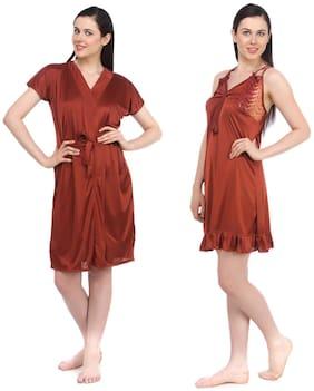 Fasense Women Satin Rust Nightwear Sleepwear 2 pcs Set Of Nighty & Wrap Gown DP045 E