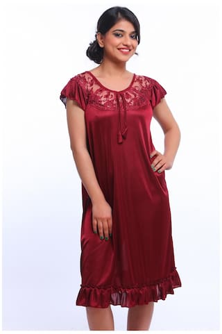 9e91d381b1 Buy Fasense Women Satin Maroon Nightwear Sleepwear Short Nighty ...