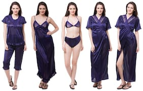 Fasense Women Blue Nightwear Set of 6 pcs (Size-M)