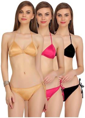 FASHION COMFORTZ Solid Backless bra Lingerie Set - Multi