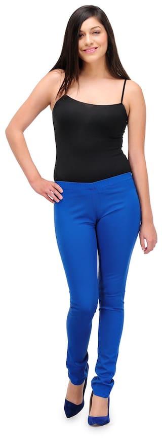 Fashion Cult Blue Cotton Jeggings (Size-28)