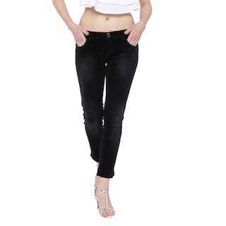 Fashion Cult Stretchable Cotton Velvet Touch Black Jeans For Women's
