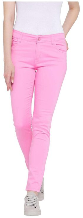FASHION CULT Women Slim Fit Mid Rise Solid Pants - Pink