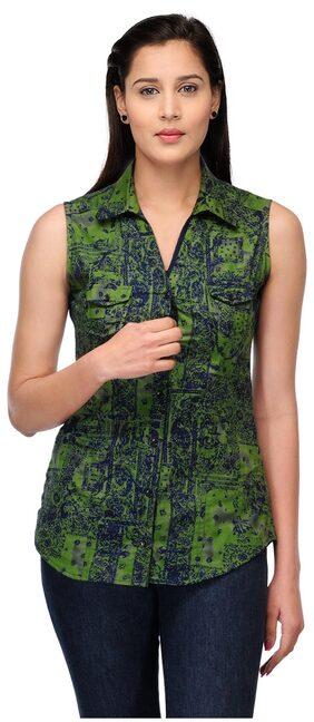 Fashion Cult Women Cotton - Regular Top Green