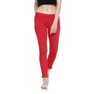 Fashion Cult Stretchable Corduroy Red Jeggings For Women's