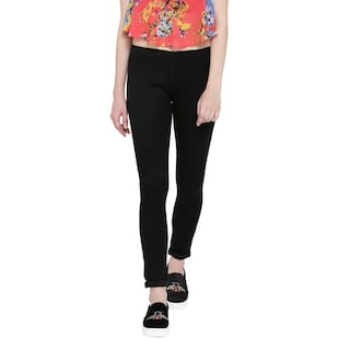 Fashion Cult Power Stretchable Cotton Black Jeggings For Women's