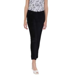 Fashion Cult Velvet Lycra Black Trouser For Women's