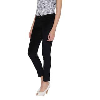 Trouser Velvet Cult Women's Black Fashion Lycra For FvIcwqq5