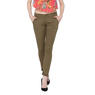 Fashion Cult Cotton Lycra Olive Trouser For Women's