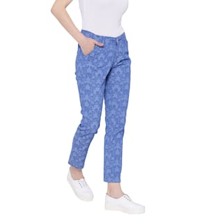 Fashion Cult For Lycra Cotton Women's Blue Printed Trouser Zq8qwCp
