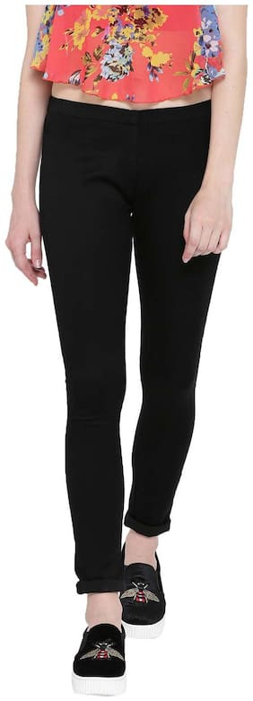 Fashion Cult Women Regular Fit Mid Rise Solid Jeans - Black