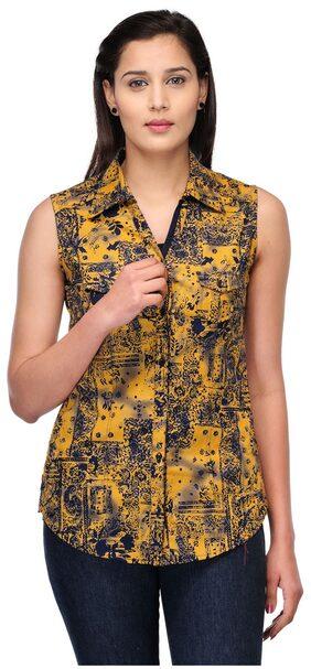 Fashion Cult Women Cotton Printed - Regular Top Yellow