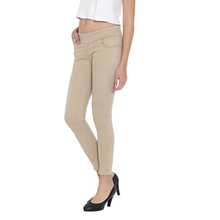 Fashion Beige Cult Women's Jeggings For Stretchable Cotton rqrxdHwt