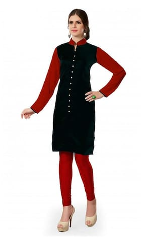 Fashion Founder Black With Red Sleeves Kurti