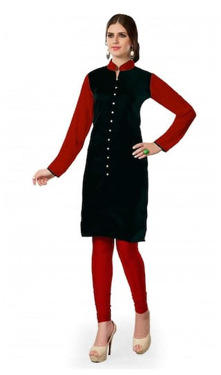 Fashion Founder Women Cotton Straight Kurti - Black
