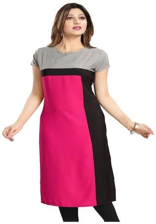 Fashion Founder Pink Crepe Straight Kurti