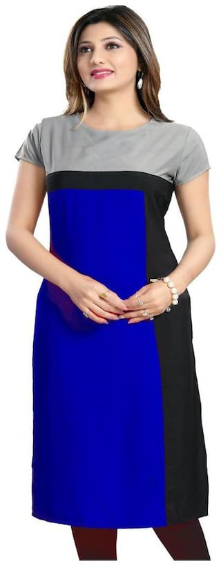 Fashion Founder Blue Crepe Straight Kurti