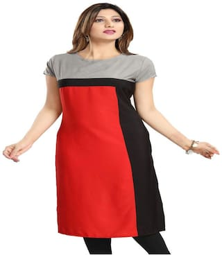 Fashion Founder Red Crepe Straight Kurti