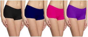FASHION LINE Pack Of 4 Solid Mid Waist Boyshorts - Multi