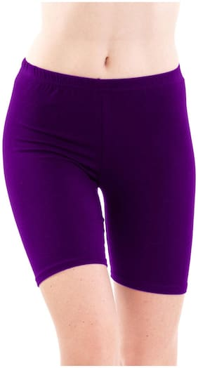 FASHION LINE Women Solid Regular shorts - Purple