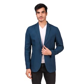 Fashion N Style Men Navy blue Solid Regular fit Single Breasted Blazer