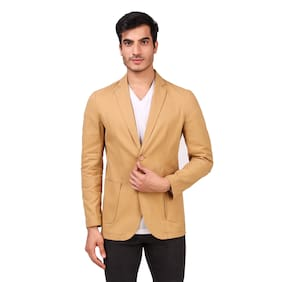 Fashion N Style Men Yellow Solid Regular fit Single Breasted Blazer