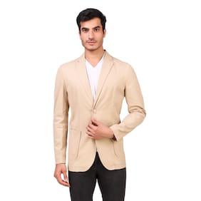 Fashion N Style Men Beige Solid Regular fit Single Breasted Blazer