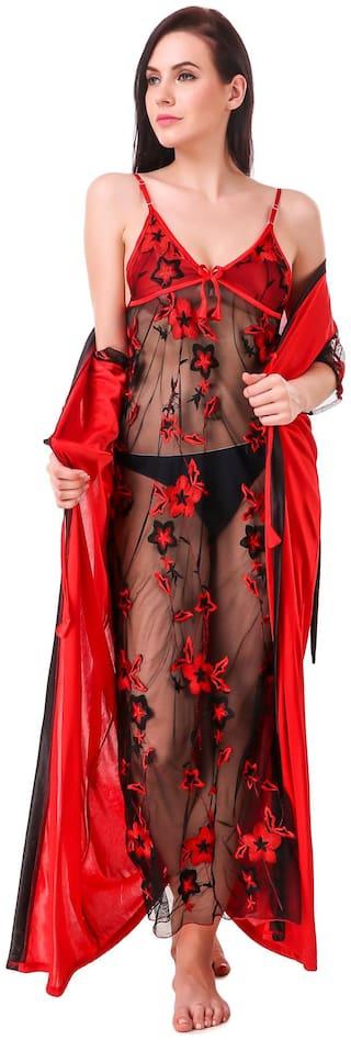 FASHION NIGHTWEAR Red Nighty with Robe