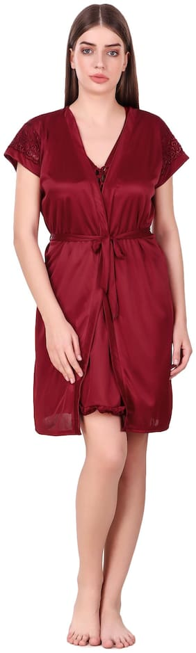 FASHION NIGHTWEAR Maroon Nighty with Robe
