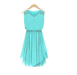 V Pleated Turquoise Fashion strap Asymmetric Klick2Style Diamond temperament Dress neck By Slim 6qqtESfxw