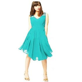 Fashion temperament Diamond Pleated V-neck strap Slim Asymmetric Turquoise Dress By Klick2Style