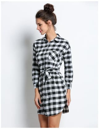 Women Sleeve with Belt Straight Tunic Long Dress Plaid Fashion Blouse Shirt Lady Casual Check dqt4dB