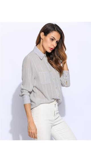 Shirt Down Women Fashion Turn Gray Sleeve Collar Betterlife Long Slim Stripped Print Pocket wPF4AxXqx