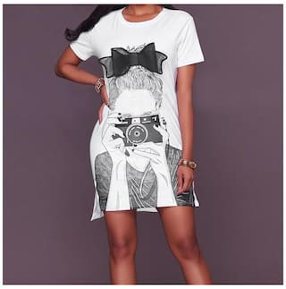 Sleeve WH XL Mini neck Short Women Picture Print Dress O Fashion wFzE4xqWaW