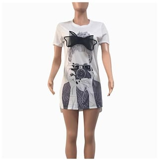 Fashion XL O Print Dress neck Women WH Short Mini Picture Sleeve rqg6vnrW1