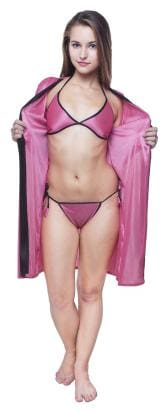 Fashion Xposed Satin Robe and lingerie set Solid Nightwear Pink - (Pack of 1 )