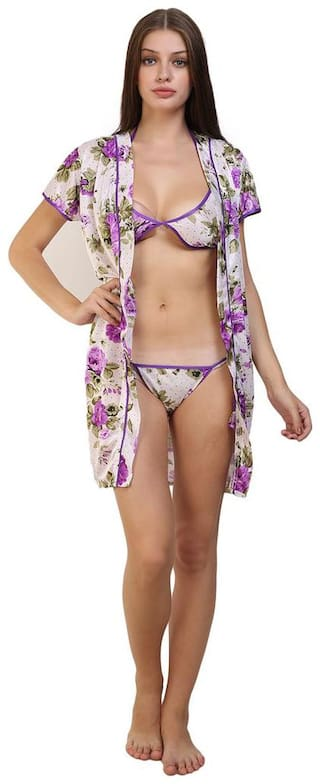 Fashion Xposed White Robe and Lingerie Set