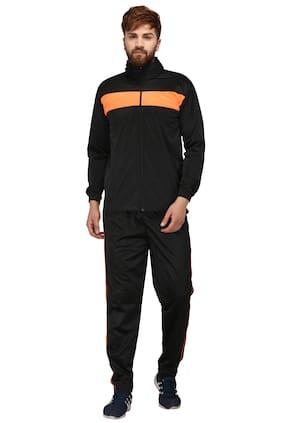 FASHION 7 Men Black & Orange Solid Regular Fit Track Suit