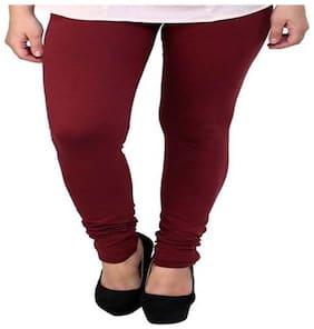 Fashionyet Maroon Cotton Women Legging
