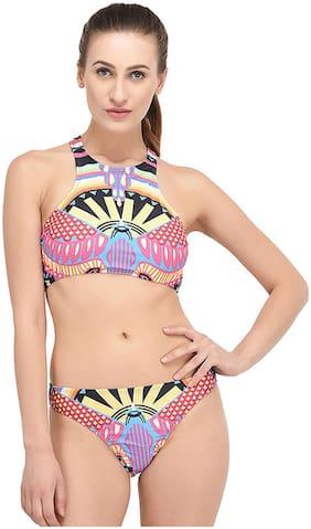 Fasnoya Boho Tribal Print High Neck Swimsuit